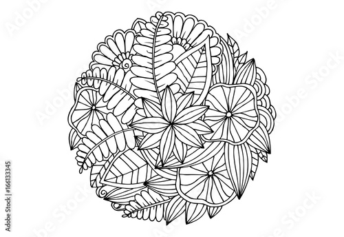 Monochrome floral mandala