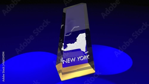 New York NY State Map Award Best Prize Trophy 3d Animation