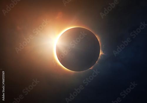 Spoed canvasdoek 2cm dik Wanddecoratie met eigen foto Solar Eclipse