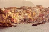 La Corricella marina on the Italian island Procida at sunrise. - 166136331