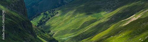 Picturesque mountain emerald valley of river Zagedanka. Caucasus mountains. - 166136740