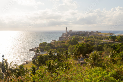 Wide view of lighthouse and ocean in Havana, Cuba