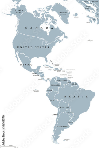 The Americas political map with countries and borders of the two continents North and South America Poster