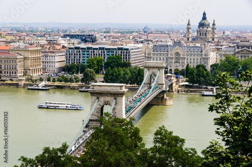 Széchenyi Chain Bridge over the Danube, and looking towards St. Stephen's Basilica, Budapest