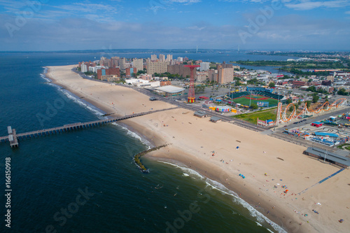 Fotobehang Amusementspark Aerial drone photo of Coney Island New York USA
