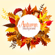 Autumn leaf, mushroom and forest berry poster