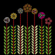 Embroidery trend floral decorative pattern. Contemporary folk colorful bouquets on black background for clothing, dress and jeans design. Vector. - 166158721