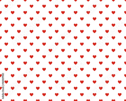 Seamless polka dot red pattern with hearts. - 166169960