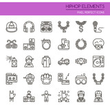Hiphop Elements , Thin Line and Pixel Perfect Icons. - 166172738