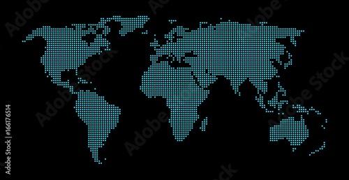Foto op Aluminium Wereldkaarten Welkarte schwarz blau aus Punkten