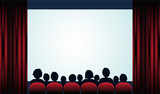 Cinema poster with audience, screen and red curtains .Vector illustration - 166176767