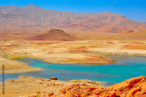 lake of extraordinary saturated color from the central part of Morocco