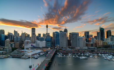 Darling Harbour on sunrise