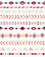 Aztec decorative seamless pattern with geometric elements