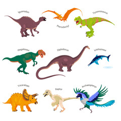 Cute colorful dino stickers with titles: Tyrannosaurus rex, Raptor etc