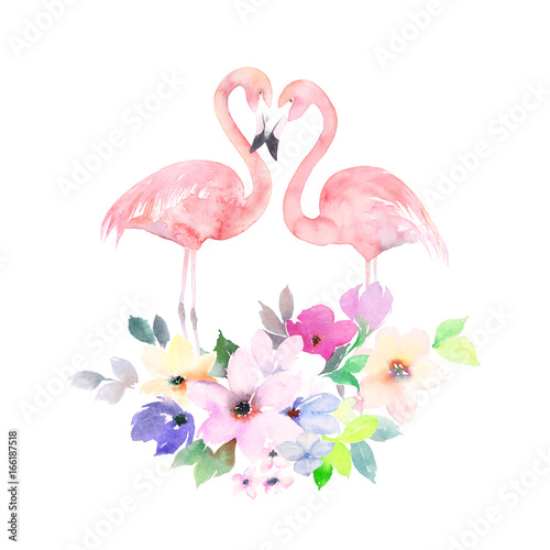 Couple pink flamingos and bouquet flowers. Watercolor print for invitation, birthday, celebration, greeting card - 166187518