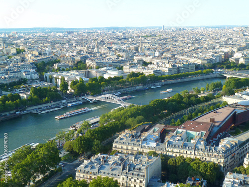 View over Paris, Seine, seen from Eiffel Tower