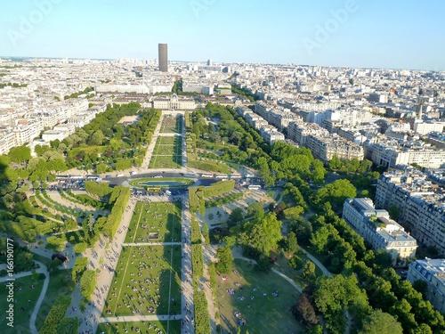 View over Paris, Parc du Champ de Mars, seen from Eiffel Tower Poster