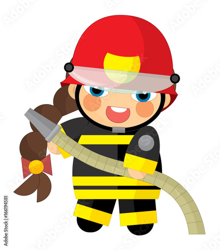cartoon character - fireman girl smiling and working - illustration for children - 166194581