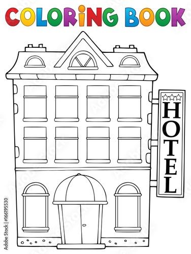 Tuinposter Voor kinderen Coloring book hotel theme 1