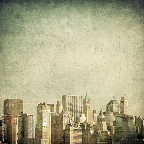 grunge image of new york skyline - 166196375