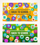 Welcome back to school  - two banners with greeting on a background with school objects and supplies icons