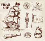 Vintage Pirate Ship Wall Sticker