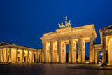The Brandenburg Gate at the blue hour; At the early hour before dawn, the Pariser Platz at the Brandenburg Gate is still without people