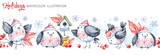 Watercolor seamless horizontal garland. Funny birds, birdhouse, berries, leaves and snowflakes. Cretive New Year. Christmas illustration. Can be use in winter holidays design, posters, invitation. - 166209936