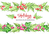 Watercolor horizontal garlands . Hand painted seamless floral borders with rowan and branches. Christmas. New Year. Can be use in winter holidays design, poster, invitation. - 166210163