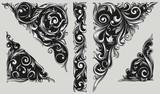 Decorative vintage ornate design elements - 166212952