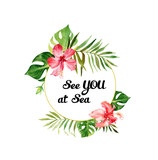 Watercolor background with tropical flowers and leaves. Can be used for invitations, greeting cards. - 166215391