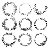 Hand drawn vector set of floral wreaths