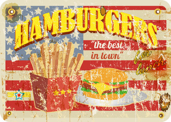 retro diner sign, hamburgers sign, grungy style, vector illustration