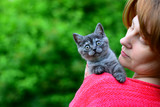 blue Scottish kitten is sitting on woman's shoulder. Outdoors