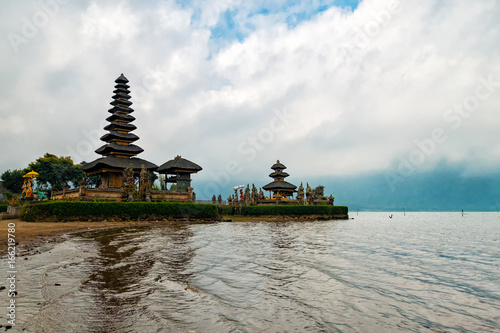 Pura Ulun Danu Bratan or Pura Bratan is a famous water temple at the shore of Bratan lake in Bali - Indonesia