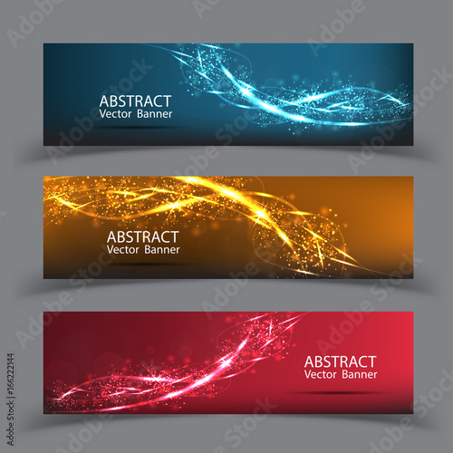 Wall mural Banner vector abstract blue motion light effect background. Composition blurry particles and has bright lights.