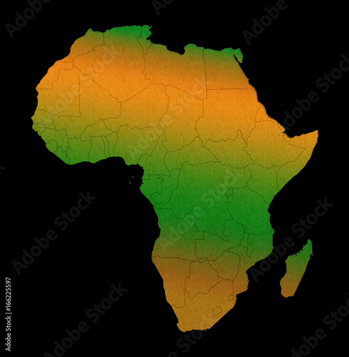 Plakát Africa continent outline silhouette map concept isolated on black background