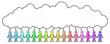Eine Gruppe von Strichmännchen, die Hände halten mit leerer Sprechblase / farbenfroh, Zeichnung, Vektor, freigestellt - 166225724