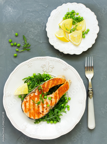 baked fish or roasted fillet or steak with peas,