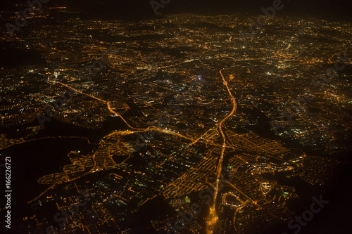 Aerial photo of Kuala Lumpur from a plane