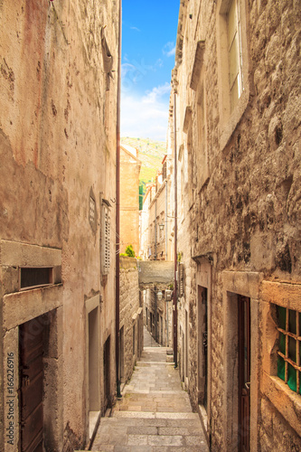 Typical medieval street in the city of Dubrovnik, Croatia Poster