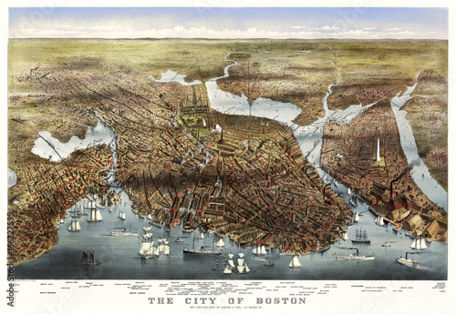 Boston, Massachusetts, old aerial view. By Parsons & Atwater, Ed. Currier & Yves, New York, 1873 - 166227595