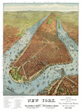 New York old aerial view. By Charles Parsons. Publ. N. Currier, New York, 1856