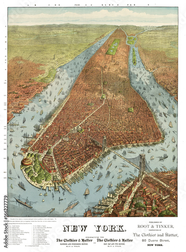 New York old aerial view. By Charles Parsons. Publ. N. Currier, New York, 1856 - 166227779