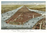 New York old aerial view of. Currier & Yves, New York, 1884 - 166227975