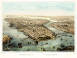 New York old aerial view. Created by Simpson and Muller,  publ. 185- (?) - 166227995