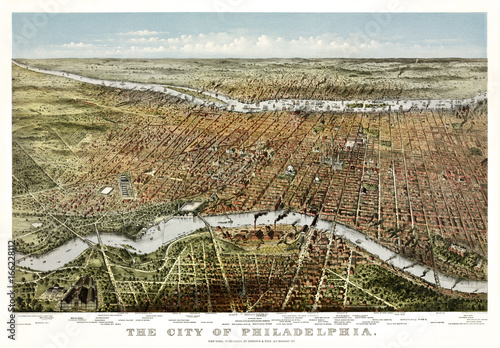 Philadelphia, Pennsylvania, Old aerial view. Currier & Yves, New York, 1875 - 166228112
