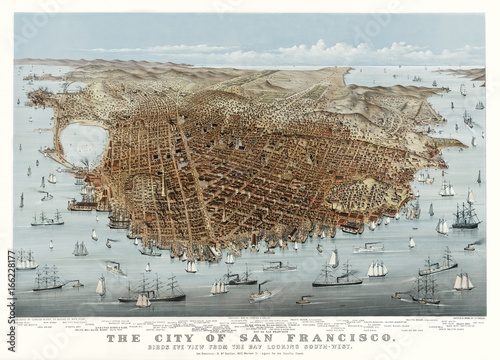 San Francisco, Kalifornia, stary widok z lotu ptaka. Autorzy: Parsons & Charles, Publ. McQuillan (agent Currier & Yves), San Francisco, 1878