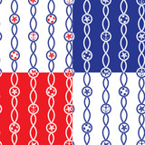 Set of Seamless nautical patterns on blue, red, white background